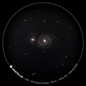 The Whirlpool Galaxy viewed through the eVscope