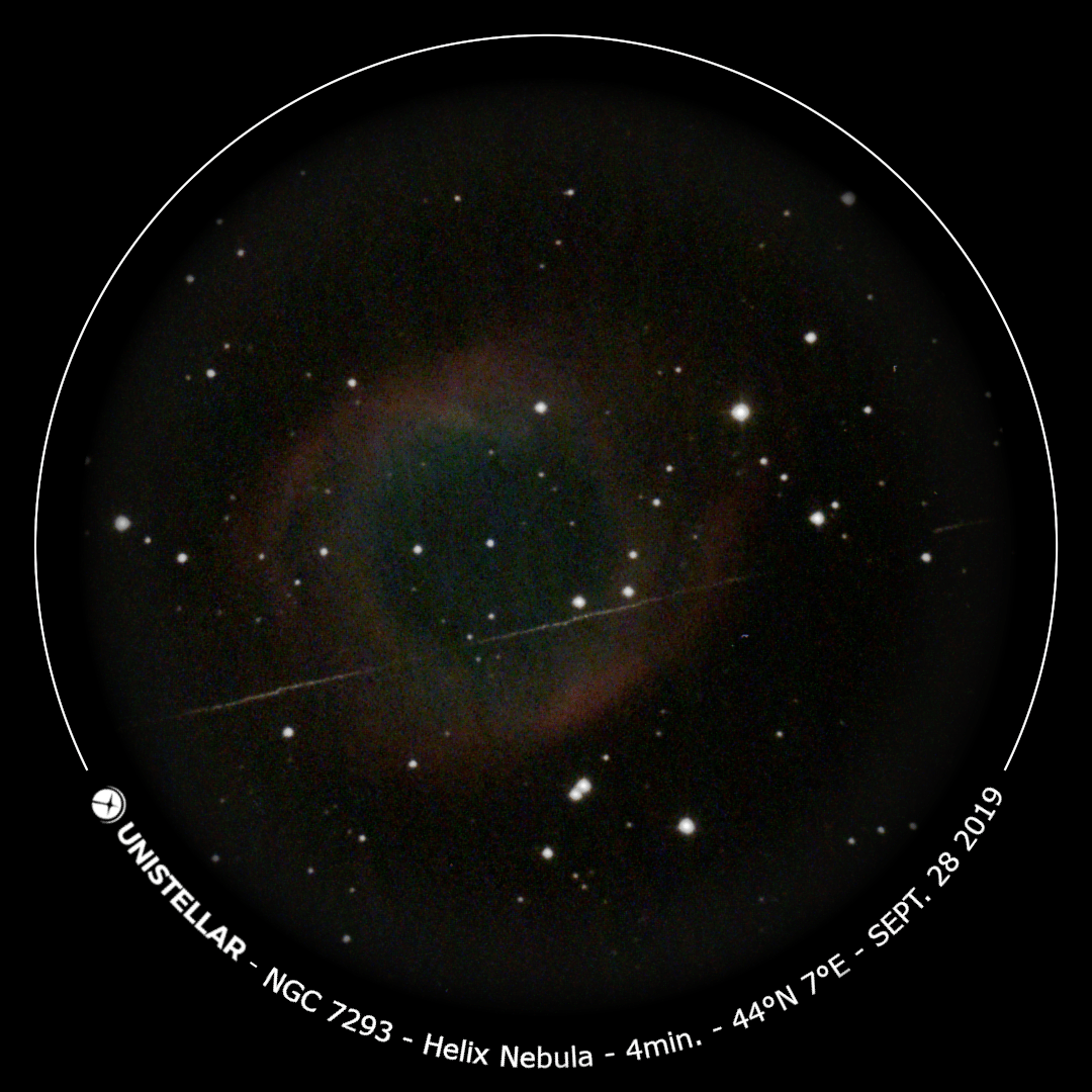 The Helix Nebula viewed through the eVscope
