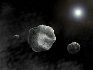 Artist's View asteroid 93 Minerva and two moons Aegis and Gorgoneion. Credit Danielle Futselaar Franck Marchis