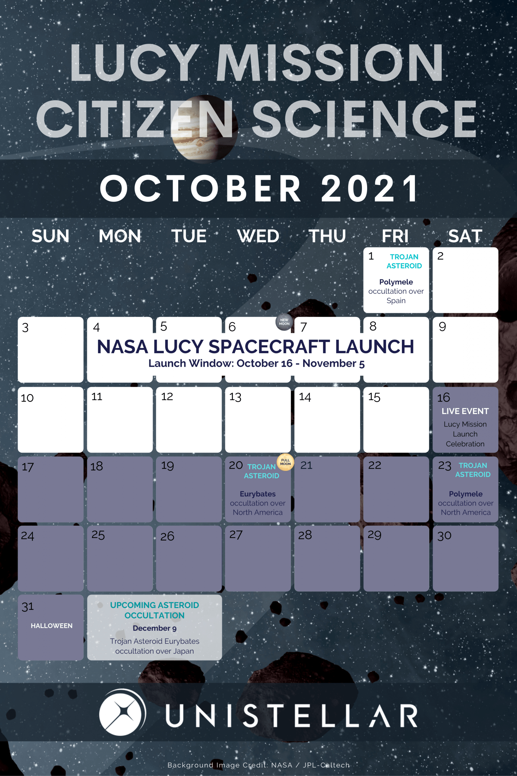 NASA Lucy Mission October Calendar